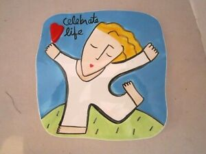 "Celebrate Life Wall Tile Plaque Hanging Sandra Magsamen For Silvestri. 6"" square"