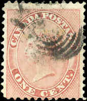 1859 Used Canada 1c VG-F Scott #14 First Cents Queen Victoria Stamp
