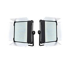 2Pcs Dison D1080II Bi color LED Studio Photography Video Light Panel w Barndoors