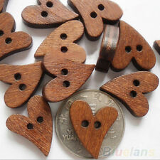 BA_ 100x GREAT 20MM HEART SHAPE BROWN WOODEN SEWING BUTTON CRAFT SCRAPBOOKING B8