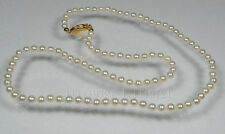 """32"""" AAA 7.5-8mm perfect round white akoya pearls necklace 14k gold clasp"""