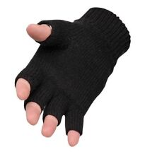 MENS KNITTED FINGERLESS GLOVES WINTER WARM WOOLLY MITTS COLD