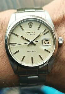 1962s Vintage ROLEX 6694 Oysterdate Precision 34mm Patina Tropical Rivetted