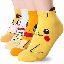 4Pairs Anime 3D Pokemon Go Pikachu Monster Character Socks Women's Ladies Kid UK