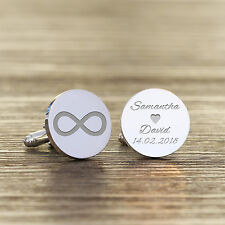 Personalised Silver Plated Infinity Name & Date Wedding Initial Cufflinks