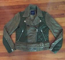 Madewell Quilted Panel Leather Moto Jacket Size 6 ONE OF A KIND