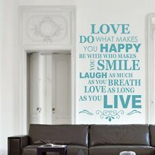 Live Love Rire Famille Sourire Happy Wall Art Autocollant Citation Décalque Vinyle Autocollants