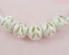 100pcs Silver /P Carved Stardust Bead Fit European Charm Bracelet ST01