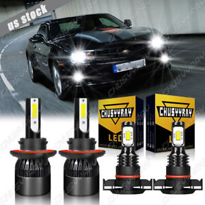 For Chevrolet Camaro 2010-13 LED Headlights High&Low Beam +Fog Light Bulbs Combo