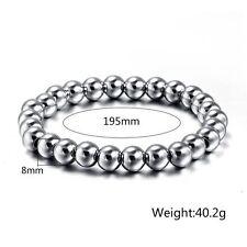 Mens Womens Stainless Steel 8mm Silver Beads Elastic Bangle Heavy Bracelet #B255