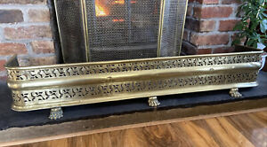Antique Brass Fender Ornate Pierced Brass Work 3 Claw Feet Fire Surround Curb