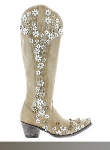 """Old Gringo Women's Hippie Chick Diana Tall Boot 18"""" Bone Size 9 New Retail $720"""
