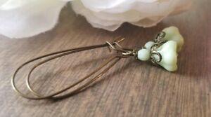 Green Glass Flower Earrings Bronze Pistachio Czech Glass Long Dangle Handmade
