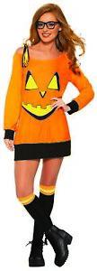 Preppy Pumpkin Orange Women's Halloween Casual Costume Shirt & Knee Highs STD