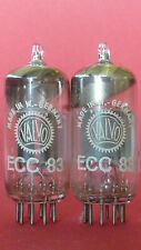 2x ECC83 tube Valvo 30° ring getter same Code I60 D0E testet Funke W19 good