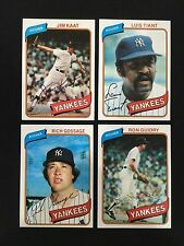 (4) NY YANKEES TOPPS 1980 PITCHERS BASEBALL CARDS KAAT, GUIDRY, GOSSAGE, TIANT