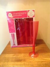 18 pink plastic party wedding champagne flutes glasses in box