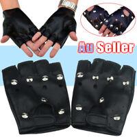 16.5cm Genuine Leather Lambskin Punk Half Cropped Fingerless Mini Gloves XXS