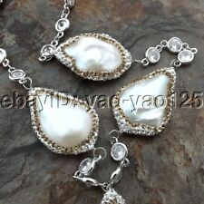 "K082011 19"" White Keshi Pearl Chain Necklace"