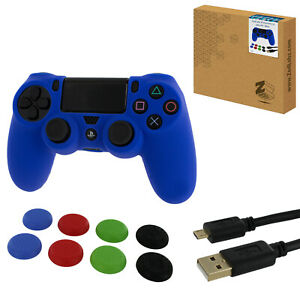 ZedLabz protect & play kit for PS4 silicone cover, thumb grips & 3m cable - blue