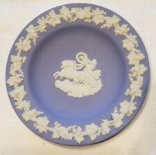 "Blue Wedgewood Jasperware Aurora and Chariot w/ Clouds & Vines 4 3/8"" Plate"
