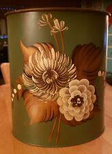 Vintage Plymouth Tole Hand Painted Trash Can
