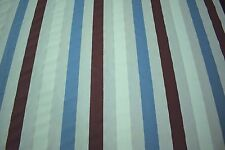 """Striped Teal Burgundy 100% Flax Linen Fabric 55""""W Upholstery BTY Natural Fiber"""