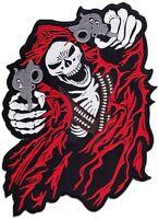 Biker Skull Reaper XL Rücken-Aufnäher Totenkopf Sensenmann MC Aufbügler Patch