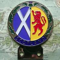 Vintage Cromato Auto Mascotte Distintivo: Scozia Cardo Bandiera Scozzese Leone