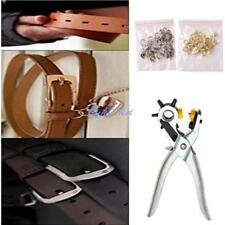 Heavy Duty Revolving Leather Belt Holes Punch Hand Pliers Tool w/Eyelets Set LD