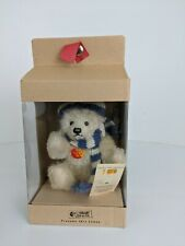 7 Inch Steiff Teddy Bear Winter Blue & White Stripped Scarf & Hat