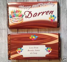 PERSONALISED Birthday Cake CHOCOLATE BAR WRAPPER fits Galaxy 114g Birthday Gift