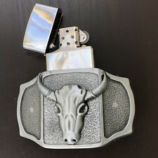 Bull Belt Buckle 3D Removable Lighter High Quality Cowboy Men WESTERN SILVER