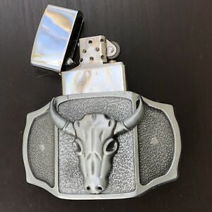 Bull Belt Buckle 3D Removable Lighter High Quality Cowboy Men WESTERN SILVER
