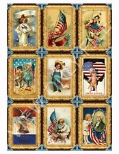 9 Patriotic Americana Vintage Hang Tags Scrapbooking Paper Crafts (284)