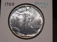 1988 SILVER EAGLE GEM BU ++ NICE ATTRACTIVE PQ BETTER DATE COMBINED SHIPPING