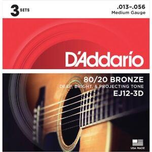 3 Sets D'Addario EJ12-3D 13-56 Acoustic Guitar Strings 80/20 Bronze Medium