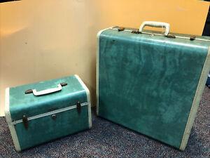 Vintage Samsonite Shwayder Luggage Hard Shell Suitcase Case Set- Green Marbled