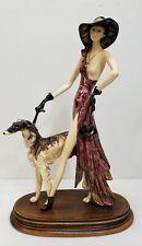 Art Deco A. Santini Fashionably Nude Lady & Borzoi Art Sculpture Italy