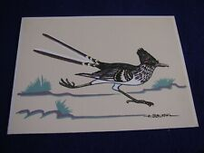 Southwestern Art By Archie Blackowl Print 6 in x 8 1/4 in Silkscreen Roadrunner