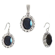 925 Sterling Silver Labradorite Gemstone Pendant With Drop/Dangle Earring Set