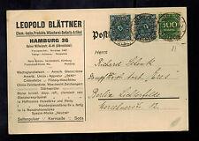 1923 Hamburg Germany to Berlin Postcard Cover Leopold Blattner Judaica