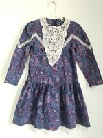 Vintage 80's Jessica McClintock GUNNE SAX Girls Dress Sz 8 Paisley Lace