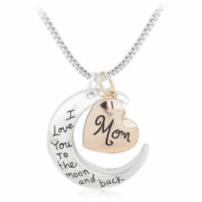 """I LOVE YOU TO THE MOON AND BACK"" ""Mom"" Gold Silver Women Necklace Charm Pendant"