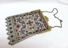 Vintage Art Deco Mandalian Mfg. USA Enamel Metal Mesh Purse Gilt Frame w/ Birds