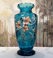 Hand Painted Grape Vine Blue Vase
