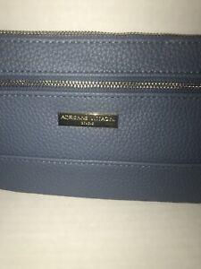 NWT WOMEN'S ADRIENNE VITTADINI WRISTLET WALLET DENIM BLUE PEBBLE  PVC 2 ZIP RFID