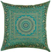 "16"" x 16"" Teal Mandala Silk Brocade Cushion Cover Pillow Throw Sofa Home Decor"