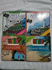 Lot if 4 Adult Coloring Books Owls, Seasons, America (music) and Island (music)