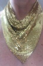 Vintage Whiting & Davis Gold Tone Mesh Necklace Bib, Collar, Scarf W Gift!